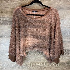 Lola Metallic Eyelash Knit Crop Sweater NWT